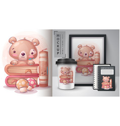 Teddy bear read book poster and merchandising vector