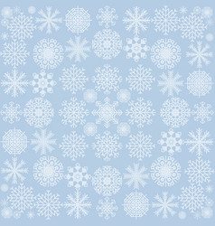 the pattern of snowflakes on a blue background vector image