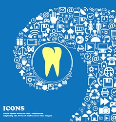 Tooth icon Nice set of beautiful icons twisted vector