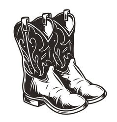 Vintage cowboy boots concept vector