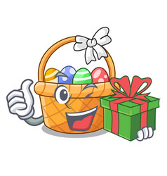 With gift easter basket miniature shape mascot vector