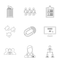 Work icons set outline style vector