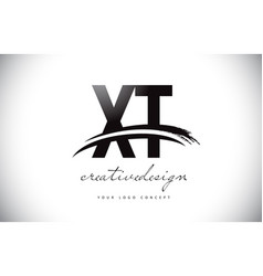 Xt x t letter logo design with swoosh and black vector