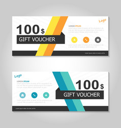 Yellow blue gift voucher ticket template layout vector