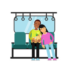 Young man and woman sleeping in the train cartoon vector