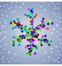 Christmas colorful confetti snowflake vector image vector image
