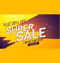 Super sale offer and discount banner template for vector