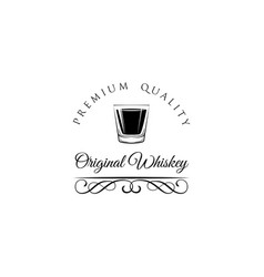 whiskey shot glass alcohol badge and label vector image vector image