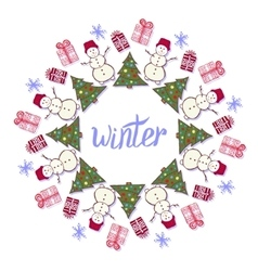 Winter decoration Cute snowman in New year party vector image