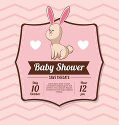 baby shower card invitation with bunny heart vector image