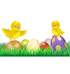 cute yellow chicks on easter eggs vector image