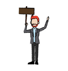 man avatar holidng singboard empty campaing vector image