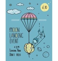 Sky Planets Stars Cosmonaut Moon Flight Line Art vector image