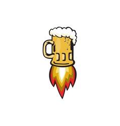 Beer Mug Rocket Ship Blasting Retro vector image vector image