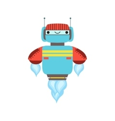 Blue And Red Friendly Android Robot Character vector image vector image