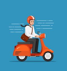 businessman riding motorcycle or scooter going to vector image