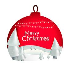 christmas ball with snow trees and stars vector image