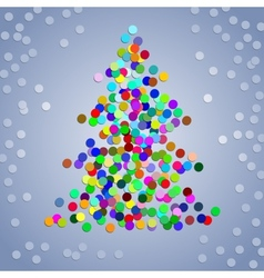 Christmas colorful confetti tree vector image vector image