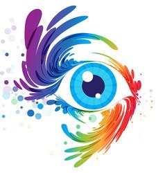 eye art and splash eyelashes on white background vector image