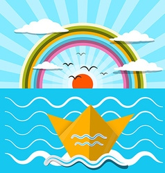 Flat Design Paper Boat and Ocean with Rainbow vector image vector image