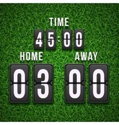 Football soccer scoreboard on grass background vector image