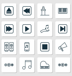 music icons set collection of note donate rewind vector image