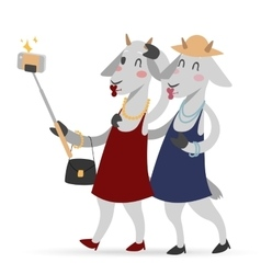 Selfie photo goat girls couple frinds vector image