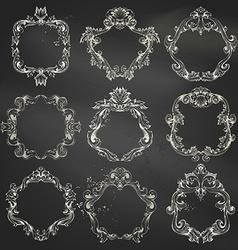 set of circle chalk frames vector image vector image