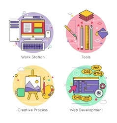 Web Design Line Icon Set vector image