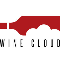 wine bottle with cloud design template vector image vector image