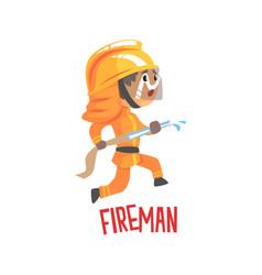 cute cartoon fireman character using water hose vector image
