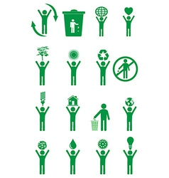 Go green people icons set vector image vector image