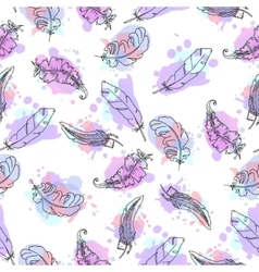 Hand drawn feathers seamless pattern vector image vector image