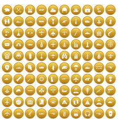 100 military resources icons set gold vector