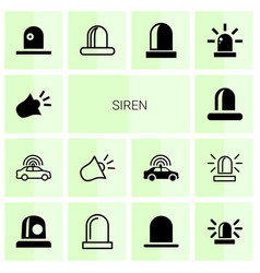 14 siren icons vector image