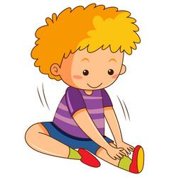 A boy stretching body vector