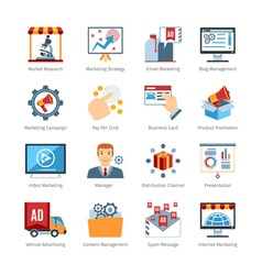 Advertising Media Flat Design Icons vector image