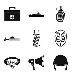 Armed uprising icons set simple style vector