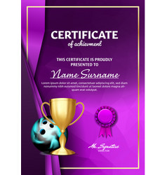 Bowling game certificate diploma with golden cup vector