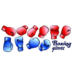 boxing gloves for sport competition set color vector image