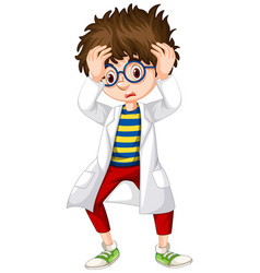 Boy in science gown looking worried vector