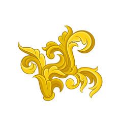 bright baroque ornament golden pattern in vector image