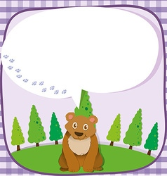 Brown bear with speech bubble vector