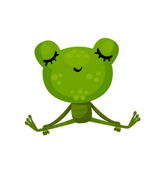 Calm frog sitting with closed eyes cartoon vector