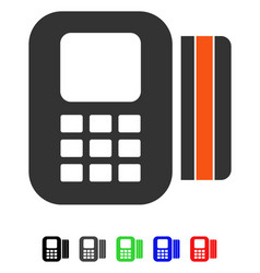 Card processor flat icon vector