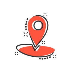 cartoon map pointer icon in comic style gps vector image