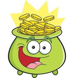 Cartoon pot of gold vector image