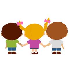 Children holding hands vector