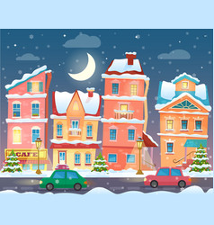 Christmas cartoon winter town in night vector