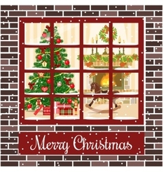 Christmas room through the window postcard vector image